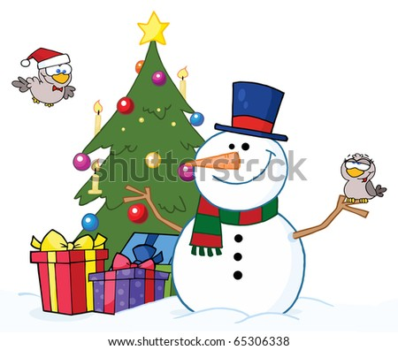 Friendly Snowman With A Two Cute Birds And Christmas Tree