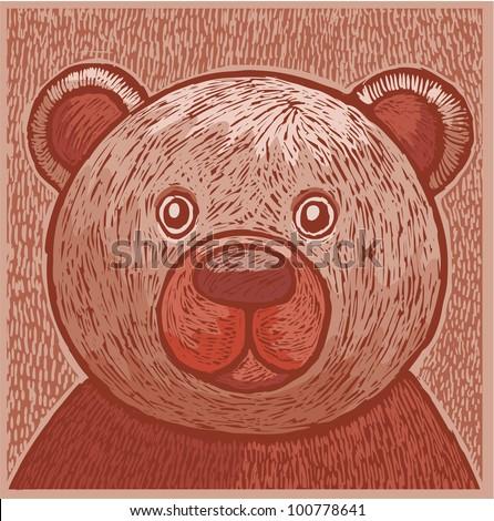 Friendly teddy bear face in engrave style - stock vector