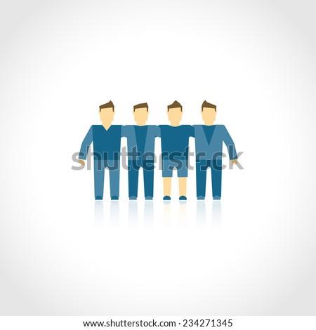 Friends brotherhood social company men community friendship concept vector illustration - stock vector