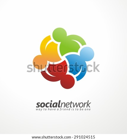 Friends concept social network symbol. Abstract business logo design colorful concept.  Internet community, online network and social media symbol layout. Unique friendship shape with human figures. - stock vector