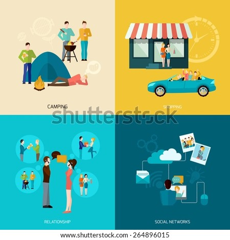 Friends design concept set with camping shopping social network and relationship flat icons isolated vector illustration - stock vector