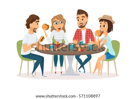 Friends Eating Fast Food Meal Restaurant Stock Vector