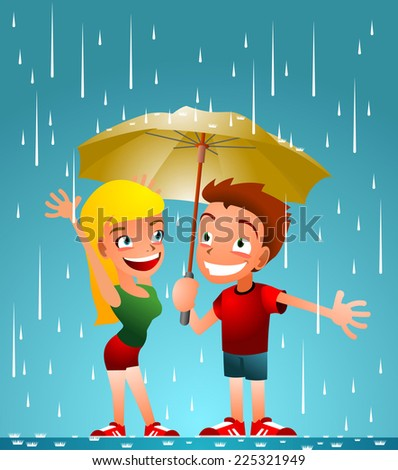 friends enjoying the rain cartoon illustration
