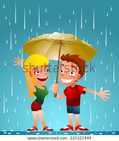 friends enjoying the rain cartoon illustration - stock vector
