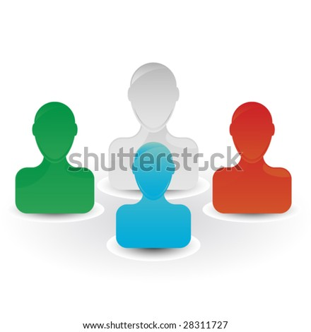 Friends Group Icon - stock vector