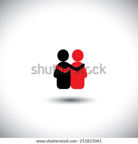 friends hug each other, deep relationship & bonding - vector icon. This also represents reunion, sharing, love, emotions, human touch, friendly embrace, support, care, kindness, empathy, compassion - stock vector