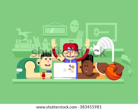 Friends looking at laptop screen - stock vector