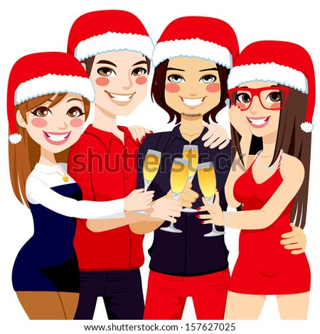 Friends making a toast celebrating Christmas party with champagne - stock vector
