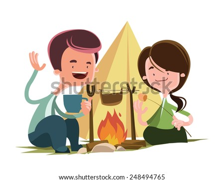 Friends next to camping fire vector illustration cartoon character - stock vector
