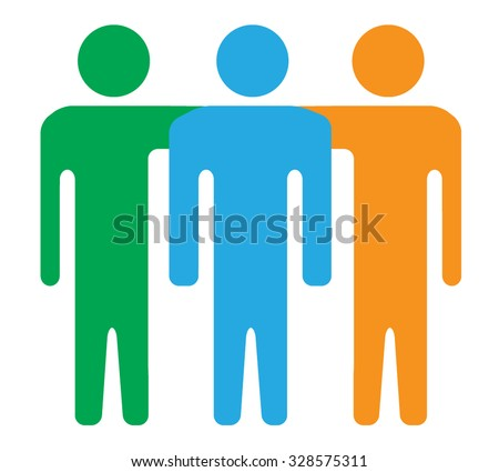 Friends, Teamwork Colorful Silhouettes Icons - stock vector