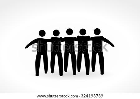 Friends walk. Stick figures - stock vector