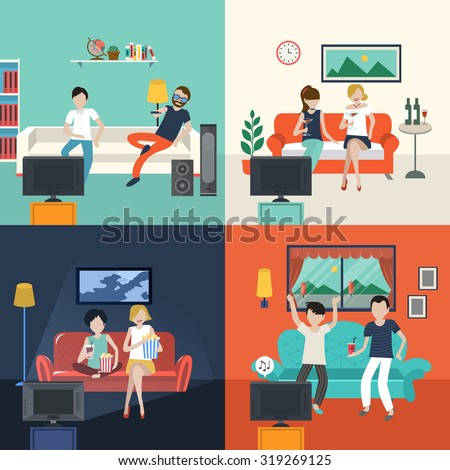 friends watching TV program in the living room in flat design - stock vector
