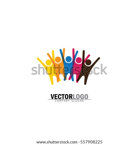 friendship and bonding vector logo icon in trendy flat style isolated on white background. buddies symbol, group of friends excited, jumping in joy, having fun