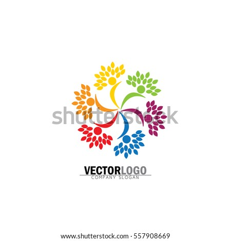 friendship, bonding, together organic people logo circle, tree logo, vector logo template. healthy person, people tree, eco and bio icon, human character icon, nature care symbol.