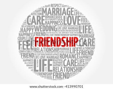 Friendship circle word cloud collage concept
