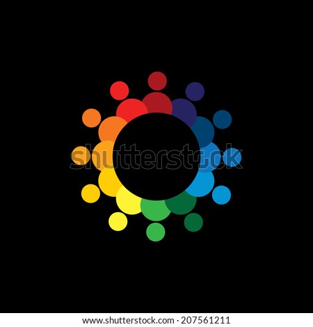 friendship concept vector - happy, joyful people together in circle. This graphic can also represent icons of colorful kids or children, united community, students union, employees & workers meeting - stock vector