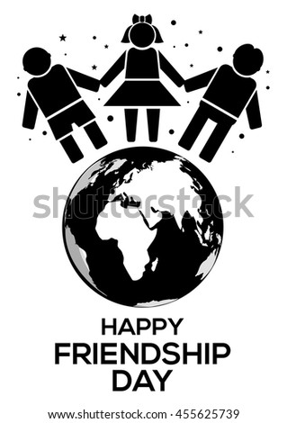 Friendship Day black and white logo icon. Planets Earth, people holding hands and inscription Happy Friendship Day. Vector illustration - stock vector
