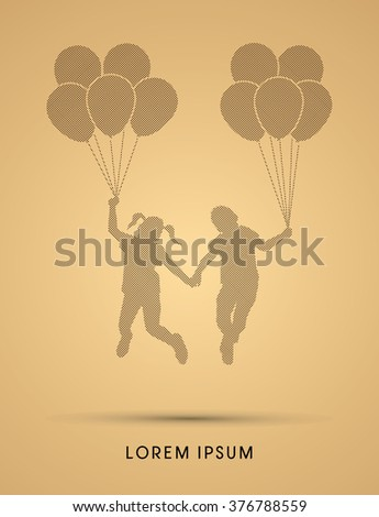 Friendship, Little Boy and girl jumping with balloons designed using dots pixels graphic vector.