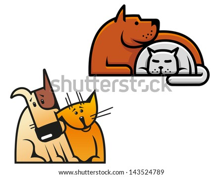 Friendship of dog and cat for concept of pets design or idea of logo. Jpeg version also available in gallery  - stock vector