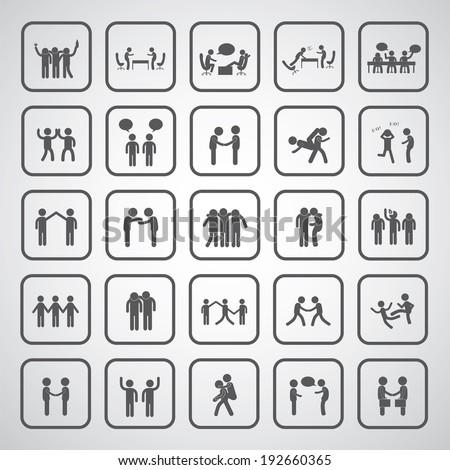 friendship symbol set on gray background  - stock vector