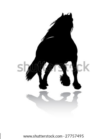friesian horse vector silhouette - stock vector