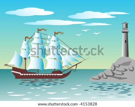 Frigate is arriving in a port near the lighthouse. - stock vector