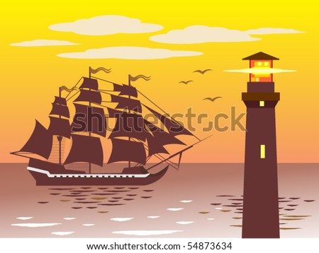 Frigate is arriving in a port near the lighthouse - stock vector