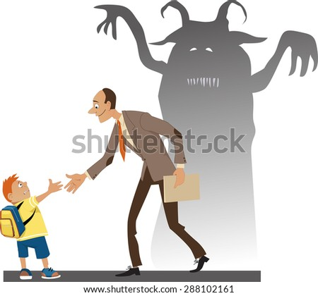 Frighten little kid with a backpack shaking hand with a friendly teacher, who's shadow loos like a horrible monster, vector illustration, no transparencies, EPS 8 - stock vector