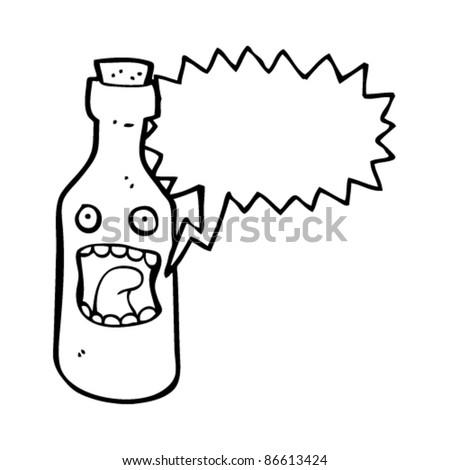 frightened cartoon bottle character - stock vector
