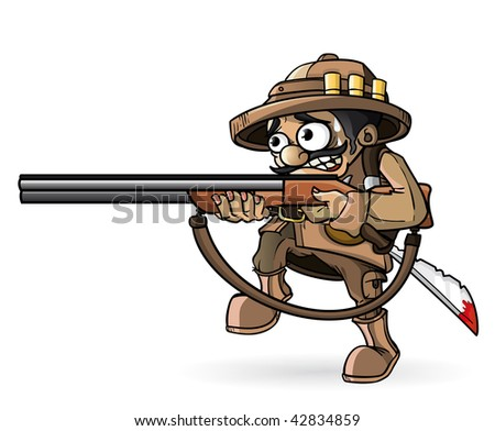 Frightened hunter isolation - stock vector