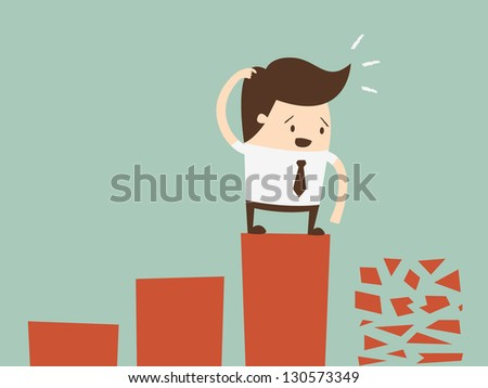 frightened man in a chart going down. - stock vector