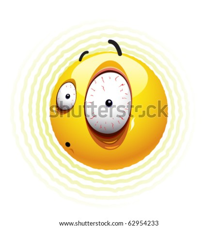Frightened Smiley ball - stock vector