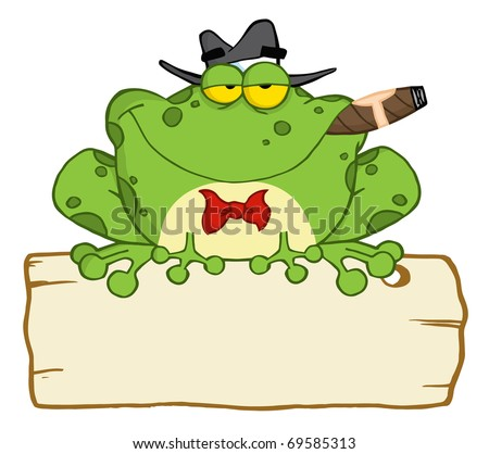 Frog Cartoon Mobster With A Hat And Cigar Over A Blank Wood Sign - stock vector
