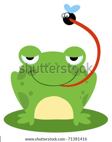 Frog Catching Bug - stock vector