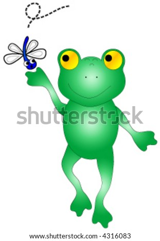 Frog catching bug vector.
