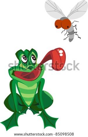 Frog Catching Bug vector - stock vector