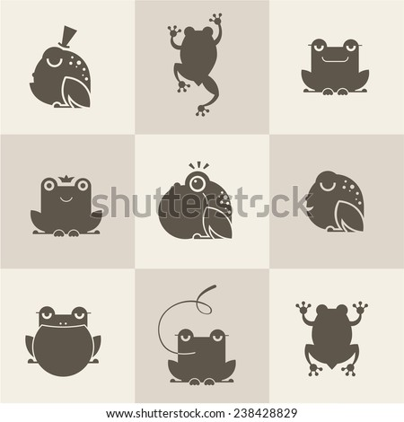 Frog characters flat - stock vector
