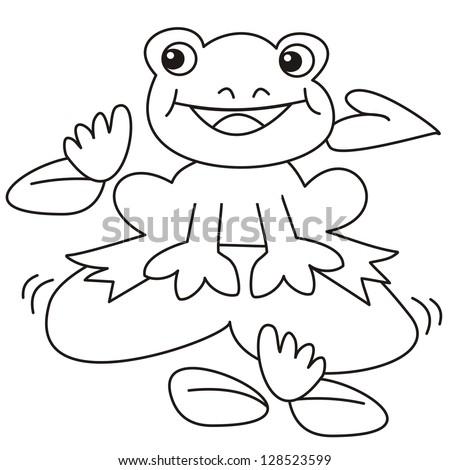 frog coloring book vector icon