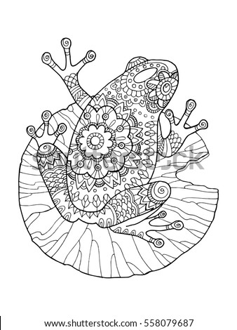 Frog Coloring Book Vector Illustration Antistress Stock Vector ...