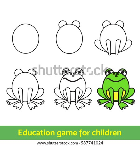Frog Drawing Process Kids Coloring Learning Stock Vector HD (Royalty ...