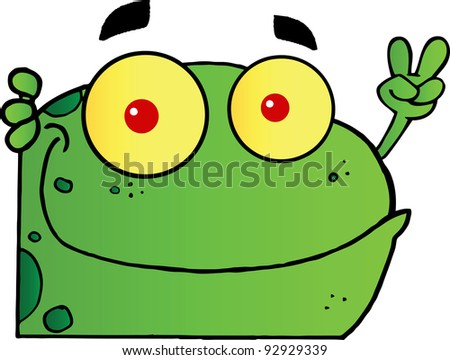 Frog Gesturing The Peace Sign With His Hand.Vector Illustration - stock vector