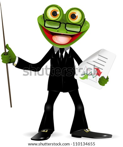Frog in a black suit with a pointer - stock vector