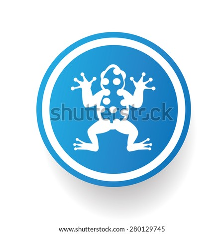 Frog on blue button background,on white background,clean vector - stock vector