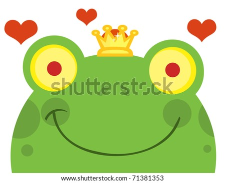 Frog Prince Cartoon Character With Hearts - stock vector