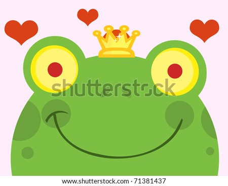 Frog Prince With Hearts - stock vector