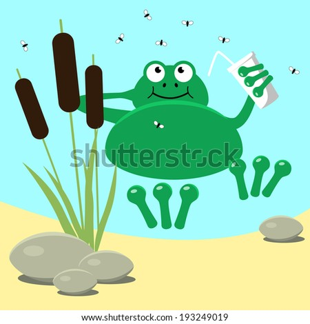 Frog resting swamp reeds and midge. Vector illustration