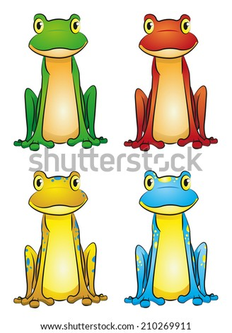 frog-set - stock vector