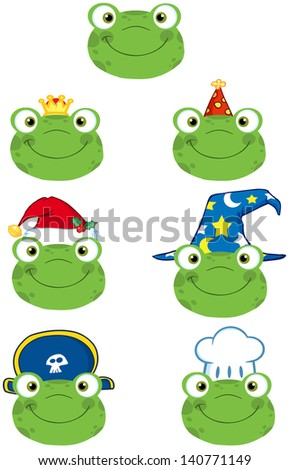 Frog Smiling Heads. Vector Collection - stock vector