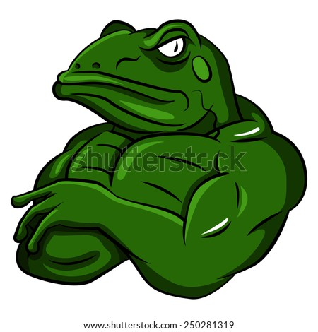 Frog Strong Mascot - stock vector