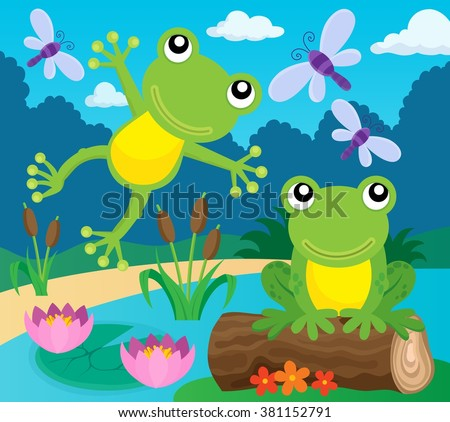 Frog thematic image 1 - eps10 vector illustration. - stock vector